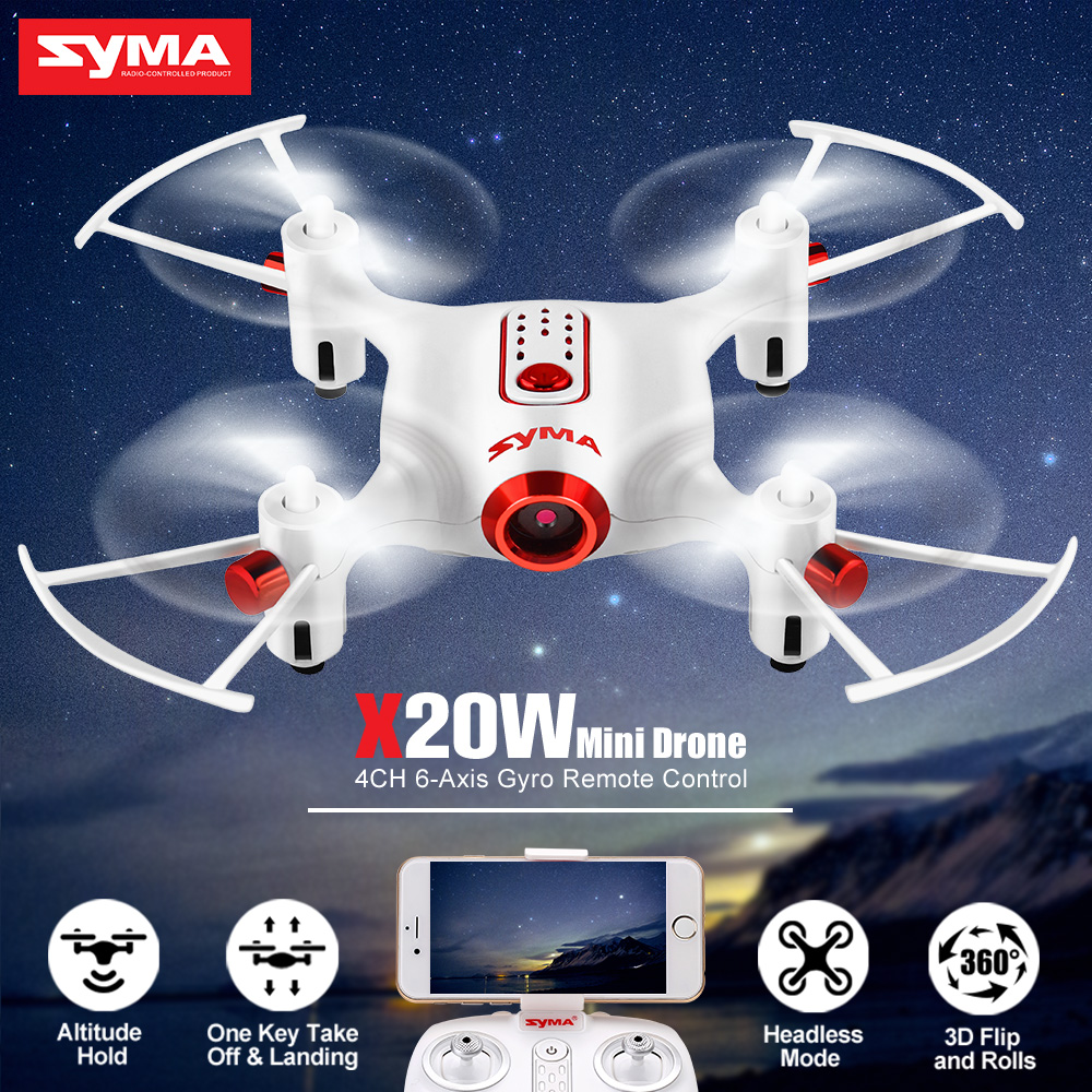 SYMA 2.4G 4CH X20W RC Mini Drone Quadcopter Helicopter Aircraft Dron With Camera FPV Real Time Transit Flight Plan Control Toys