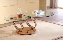 Tea table can rotate function. Stainless steel tempered glass tea table
