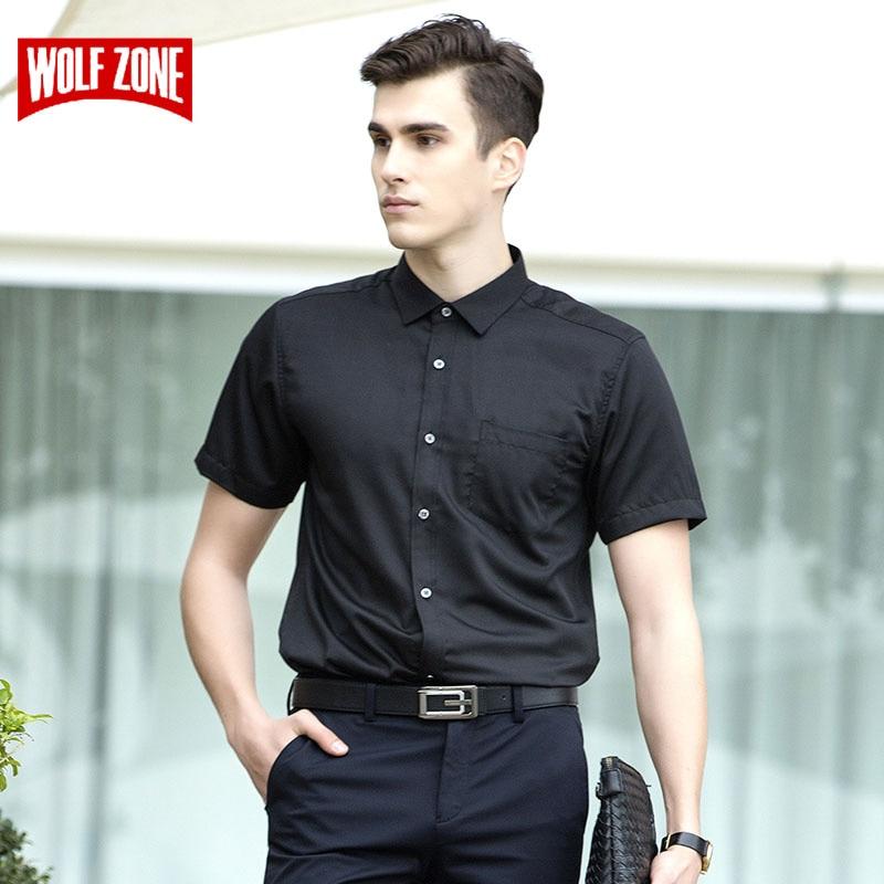 100% Wahr Wolf Zone Business Kurzarm Shirt Männer 2018 Schwarz Casual Kleid Shirts Herren Mode Kleidung Marke Sommer Formale Arbeit Shirts