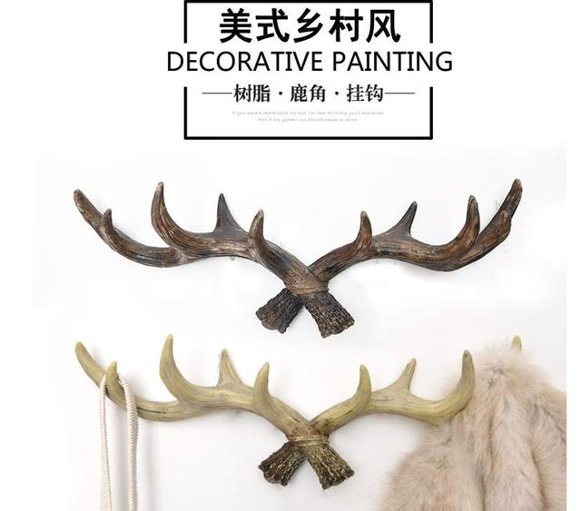 Retro coat rack antlers decoration Deer Head Animal Hanging hook creative Home Decor Living room bedroom wall decorations