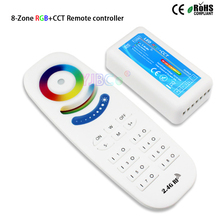 2.4G 8 Zones RGB+CCT Touch Controller 4A*5CH DC12V 24V 5 channel RGBWC dimmer with receiver for led strip light modules