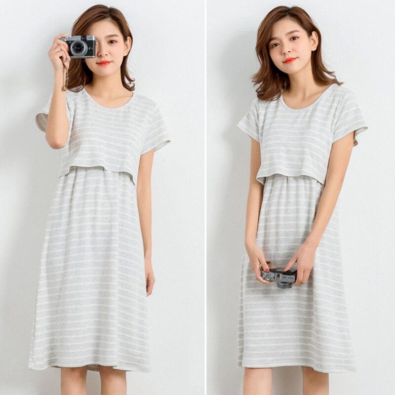 Summer Short Sleeves Nursing Clothes for Maternity Women Pregnant Breastfeeding Nightgrown Dresses Pregnant Nursing Pajamas