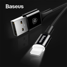Baseus LED lighting Charger Cable For iPhone X 8 7 USB Cable For iPhone iPad Fast Charging Charger Cable Mobile Phone Data Cable(China)