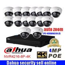 Dahua 16CH 4K NVR4216 8P 4K network security system 16pcs 4MP waterproof IP camera IPC HDBW4431R