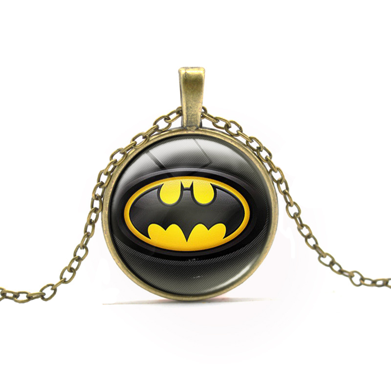 New Arrival Boy Necklace Batman DC font b Anime b font Glass Cabochon Dome Necklaces Super