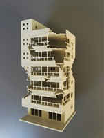 1:14:1:10 hg. The scene model of the damaged buildings is glue free assembl