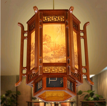 New Chinese style coffee carved wood art Pendant Lights retro landscape painting lamp for balcony&corridor&porch&stairs MYR007