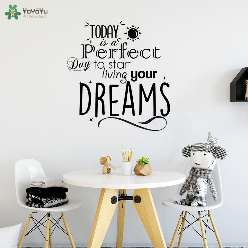 YOYOYU Wall Decal Life Quote Start Living Your Dreams Vinyl Wall Sticker Livingroom Sun Pattern Art Mural Modern Decor DIY CY280