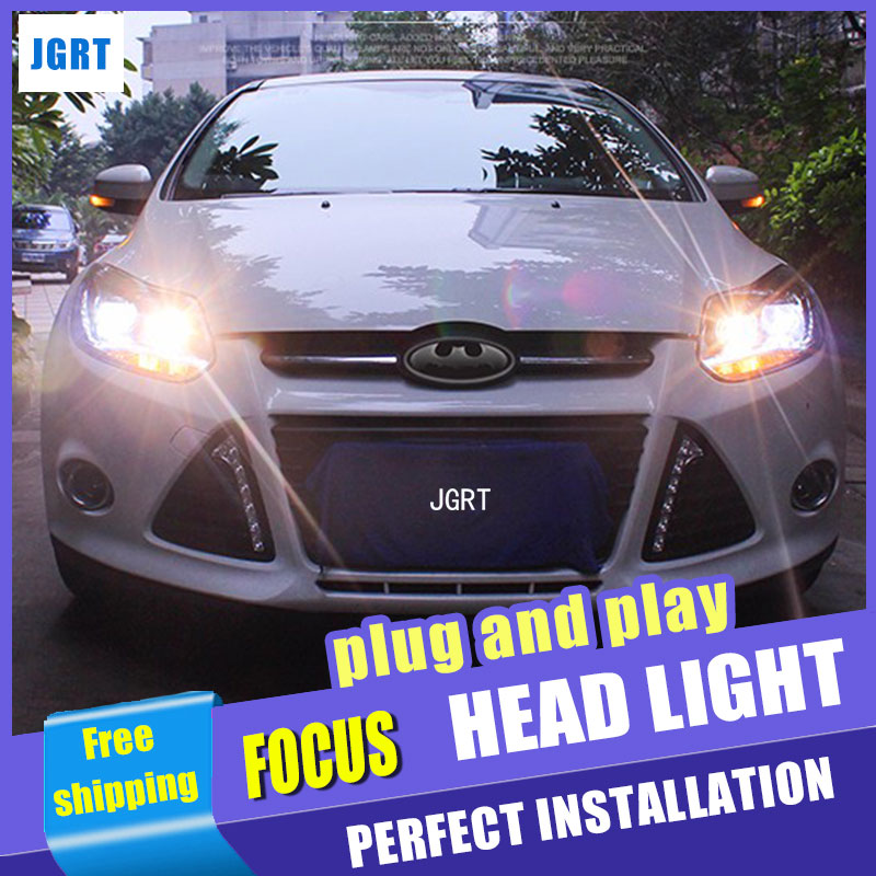 Car Styling for PW Ford Focus Headlights New Focus LED Headlight DRL Lens Double Beam H7 HID Xenon bi xenon lens led headlight drl lens double beam bi xenon hid projector lamp rh lh for ford focus 2015 2016 2017 d2h 5000k 35w hi low beam