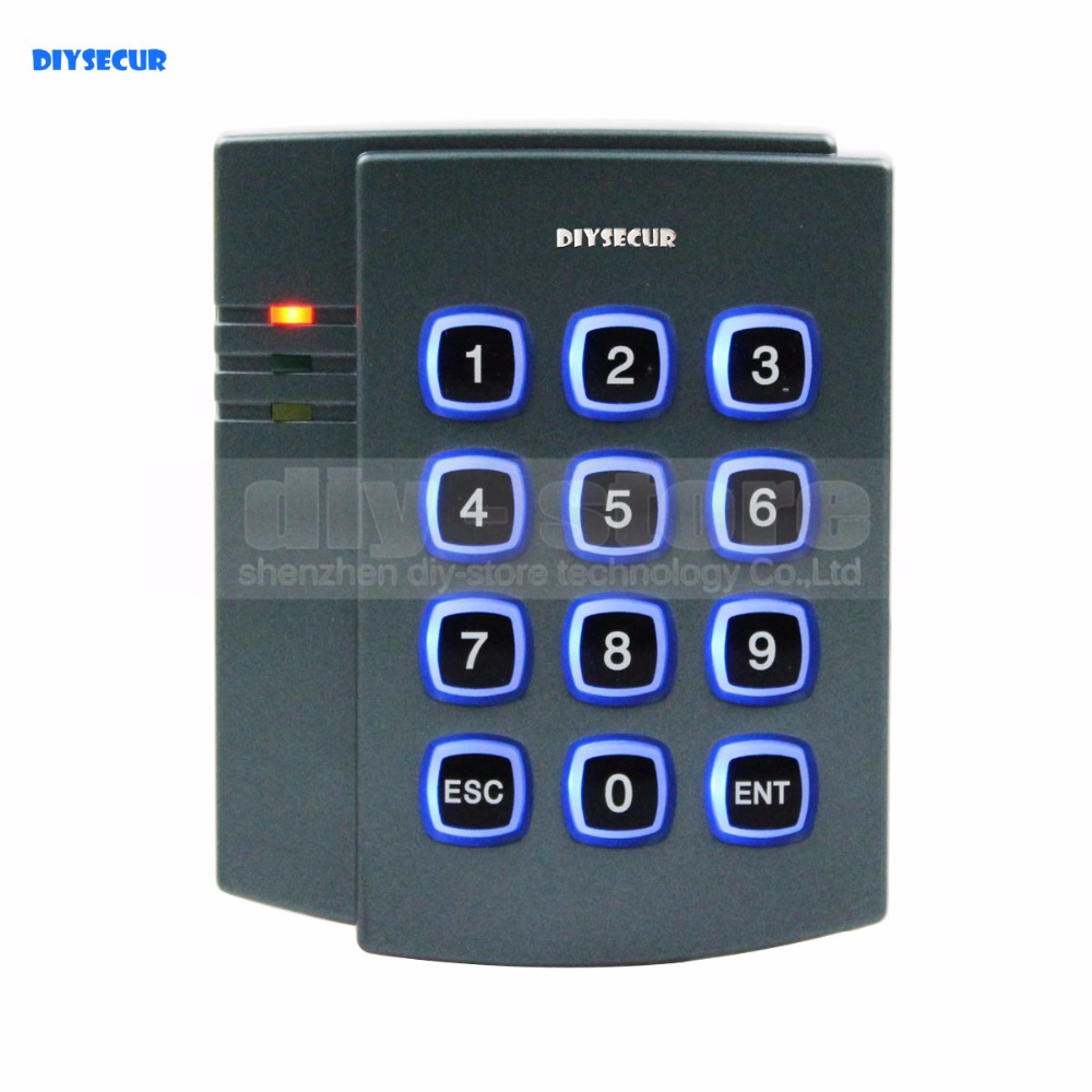 DIYSECUR 125KHz RFID ID Card Reader Password Keypad Door Access Controller System Kit + 10 Free ID Key Fobs Brand NEW 2501 good quality smart rfid card door access control reader touch waterproof keypad 125khz id card single door access controller