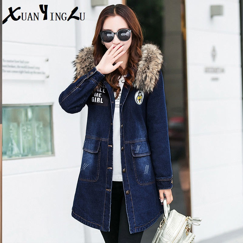 ФОТО XUANYINGLU 2016 New Winter Coat High-end fashion brand Long sleeve Fur Collar Solid Long section Denim Cotton Casual Parka Women