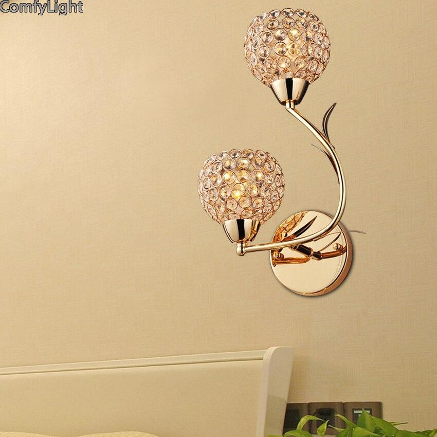 Glass golden plant Wall lamp Luxury Modern Living room beside ...