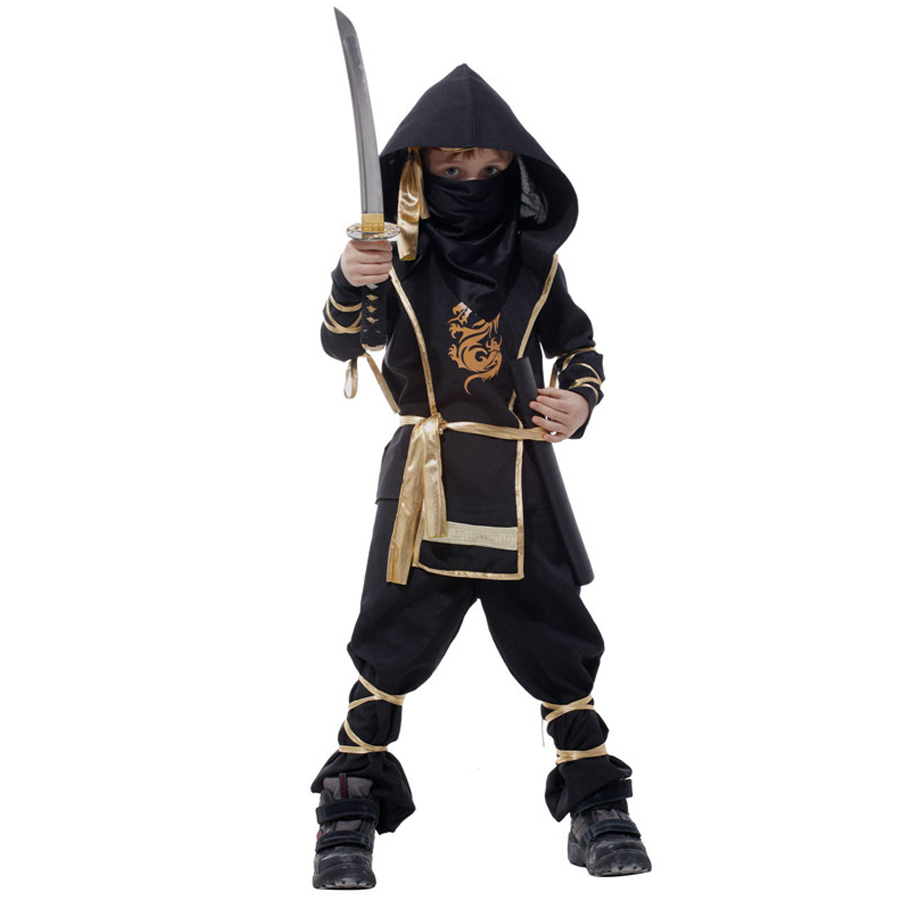 MOONIGHT Black Dragon Warrior Costumes Halloween Party Costume Party Game Performance Clothing For Boys 7 Pcs