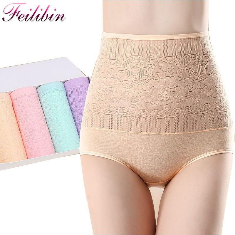 Feilibin 4Pcs/lot Control   Panties   Seamless Women High Waist Slimming Underwear Bodysuit Sexy Cotton Women Body Shapes
