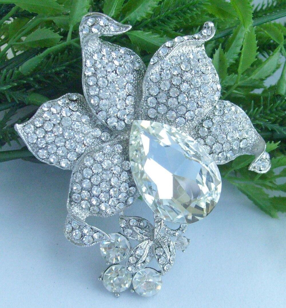 Свадебная со стразами брошь в форме цветка со стразами Pin ювелирные изделия для невесты EE04994C1