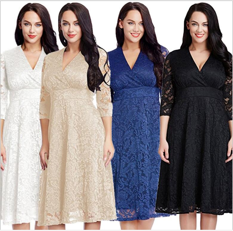 Autumn Fashion Plus size 5XL Hollow Out Elegant White Lace Elegant Party Dress High Quality Women Three quarter  Casual Dresses