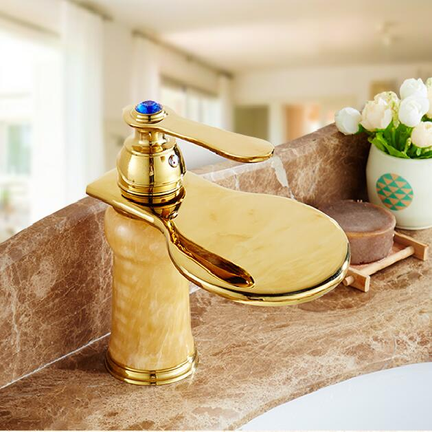 Luxury Golden Jade Design Bathroom Basin Faucet,Copper Hot and Cold Water Mixer Tap Fashion Single Handle Sink Faucet TP1109 hpb 2017 innovate upper spray design basin mixer faucet bathroom sink tap hot and cold water square style single handle
