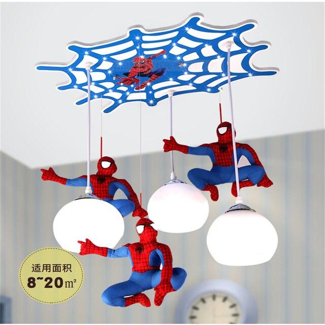 Creative Spider Man Children S Room Led Pendant Lights Cartoon Kindergarten Top Lighting Little Boy Bedroom Eye Light Fixtures
