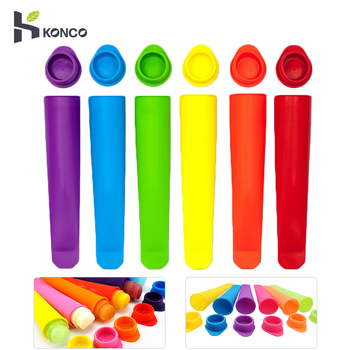 KONCO 6 Stuks Siliconen Ijs Stok Mallen Vormen voor Ijs Maker DIY Zomer Bevroren Ijs Schimmel Keuken Gereedschap popsicle Maker