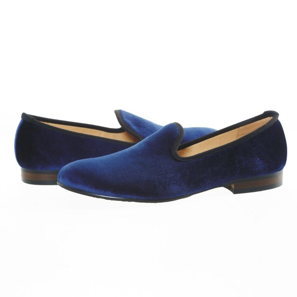 Купить с кэшбэком Fashion Men's Blue Plain Dress Shoes Men Velvet Loafers Prom Slip on Smoking Slippers Party Men's Flats Size US 7-13