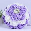 2016 En stock Púrpura/Color de Rosa/Rojo Flores de La Boda Blanco de dama de Honor Nupcial Ramos de flores Artificiales de Rose Ramo de Novia de mariage
