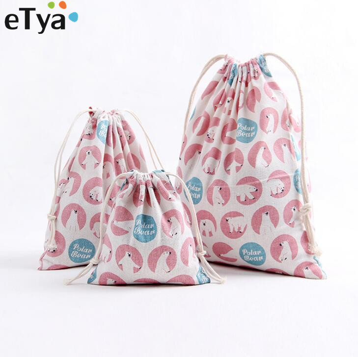 1PCS Fashion Cotton Drawstring Bag Women Cosmetic Bags Coin Purse Travel Cloth Gift Pouch Storage Package Bag