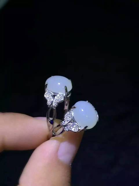 Natural white jade Ring Natural gemstone Ring S925 sterling silver trendy Elegant Luxury bow women girl party gift Jewelry