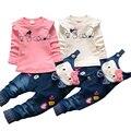 Hello Kitty Девушки Одежда Устанавливает Весна Повседневная Хлопок детские Подтяжки Устанавливает Полный Рукав рубашки Джинсы 2 Шт. Детская Одежда