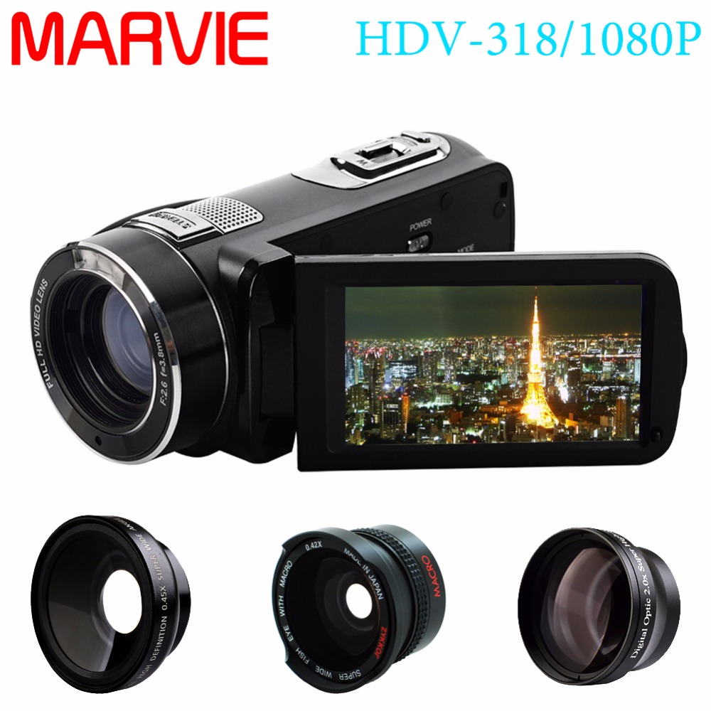 "Marvie FHD Camcorder True 1080p @ 30fps Max 24.0 MP Full Color Screen For Low light 3.0"" Touch Screen 16x Zoom DV Recorder 1"