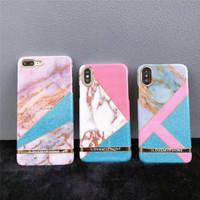 Luxury Geometric Marble Printing Soft Silicone TPU Mobile Phone Cases For IPhoneX 10 8 8Plus 7