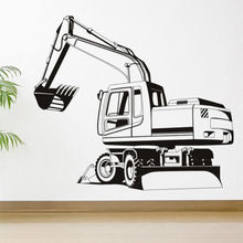 Construction Wall Sticker Digger Vinyl Decal Boys Bedroom Home Decoration Modern Design Art Mural AY891