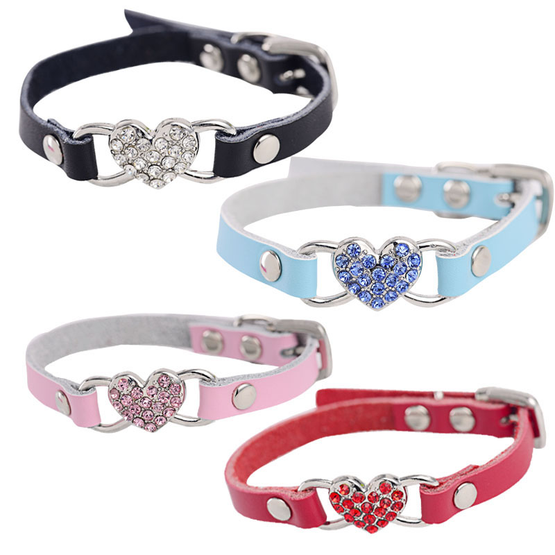 1 PC New Cute Small Pets Dog Collars Puppy Love Heart Bling Crystal PU Leather Collar XXS/XS/S