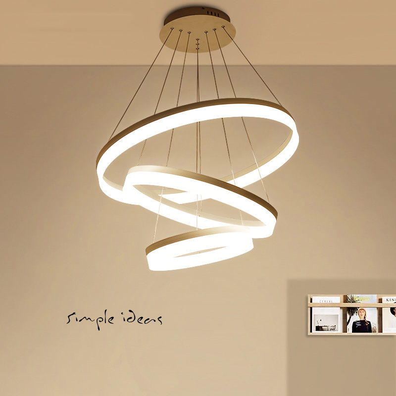 Modern led pendant lights for dining living room cerchio anello lampadario Acrylic 3/2/1 rings circles modern led pendant lamp