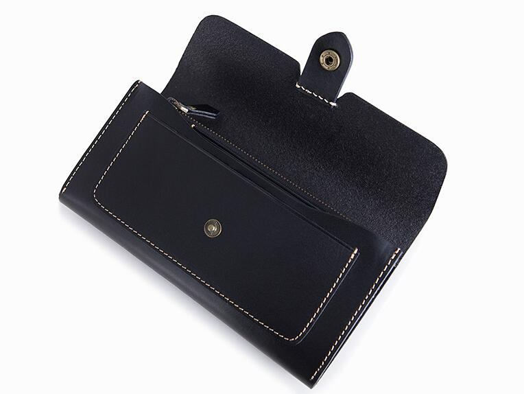 Cow leather women solid fashion long purse handmade hasp wallet