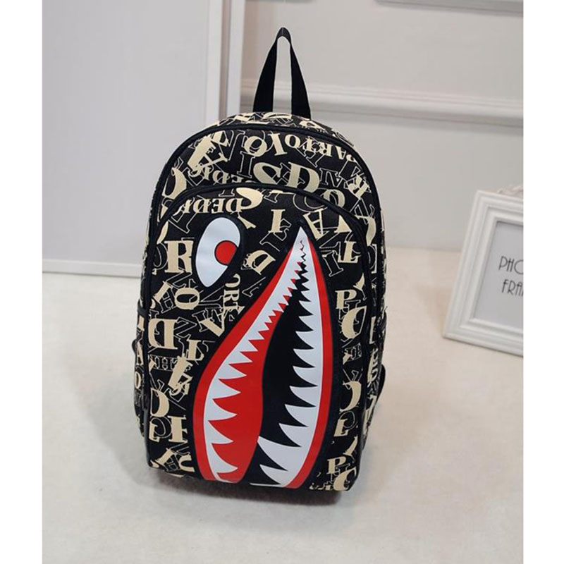 2017 Luxury Creative Character Schoolbag for Teenager Boys and Girls Vintage Graffiti Anime Shark Printing Backpacks and Laptop