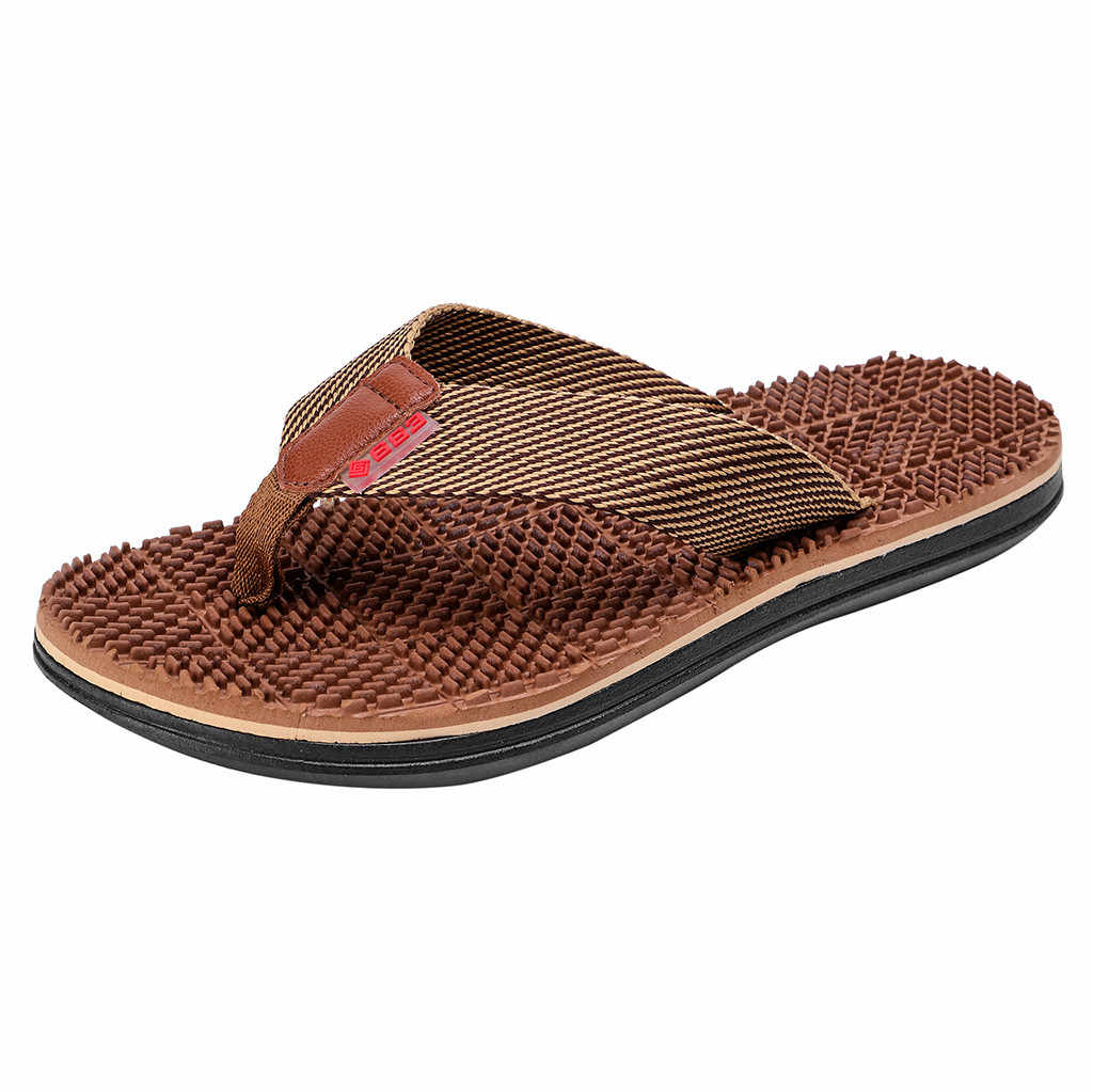ca21dc8d8a 2019 Men s Fashion Slippers Casual Summer Flip Flops Slippers Beach Shoes  Home Outdoor Massage Shoes Male