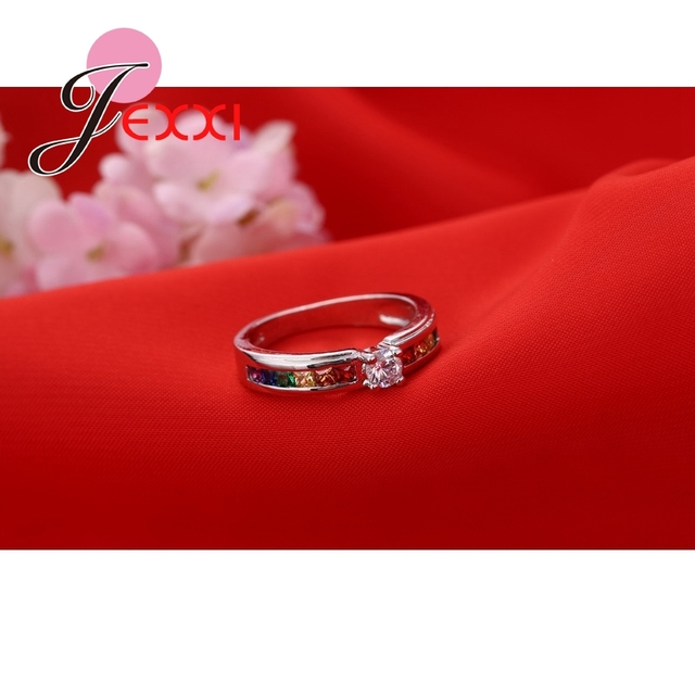 Real 925 Sterling Silver Various Colors Round Colorized Crystal Women Wedding Rings CZ Fashion Jewelry Ladies Accessories 1
