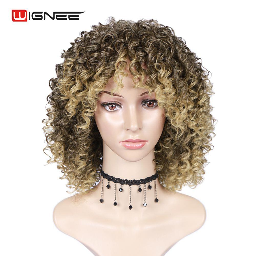 Wignee Blonde Curly Wig With Bangs High Density Temperature Human Curly Human Hair Wig Synthetic Wigs For Women African American