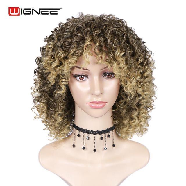 Wignee blond peruka z grzywką wysokiej temperatury ludzkie włosy kręcone peruki peruki syntetyczne dla czarnych kobiet afroamerykanów naturalne peruki