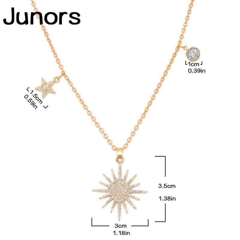 Ouro de cristal personalizado sorte deusa estrela girassol colar para as mulheres em camadas contos elo corrente de ouro estrela pingente jóias presente