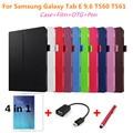 Для Samsung Личи Кожи Кожа Стенд Дело Крышка Капа Пункт для Samsung Galaxy Tab E 9.6 T560 T561 Tablet PC крышка + ручка + Пленка + OTG