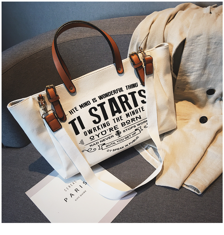 Luxury Ladies Bags Canvas Fashion Large Capacity Tote Bags Letter Shoulder Messenger Bags for Women 2018 Casual Tote Luis Vuiton 6