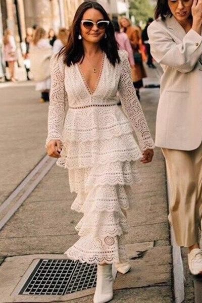 2018 New arrive Bayou Tiered Lace Midi Dress