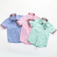 baby blouse cotton short sleeve boys shirt summer modis dot toddler turn down collar button kids shirt blusa blanca free shiping(China)