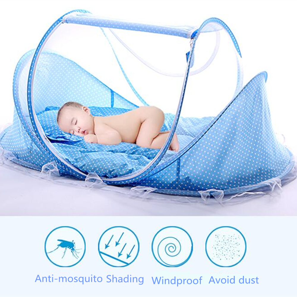 Baby bed and pillow - Yurts Baby Bed With Pillow Mat Set Portable Foldable Crib With Netting Newborn Cotton Sleep Travel