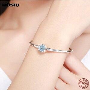 Image 5 - Wostu 100% 925 Sterling Zilver Armbanden Sneeuwvlok Blauwe Ogen Zirkoon Chain Fit Vrouwen Armband & Bangle Luxe Sieraden