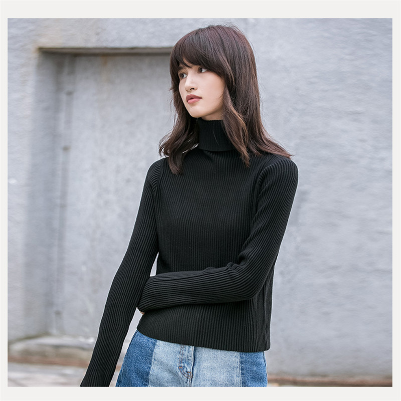 2017 Fall New Fashion Women Sweater Elastic Solid Color Turtleneck Keep Warm Sweater Women Slim Fit Knitted Sweather Ma230 ...
