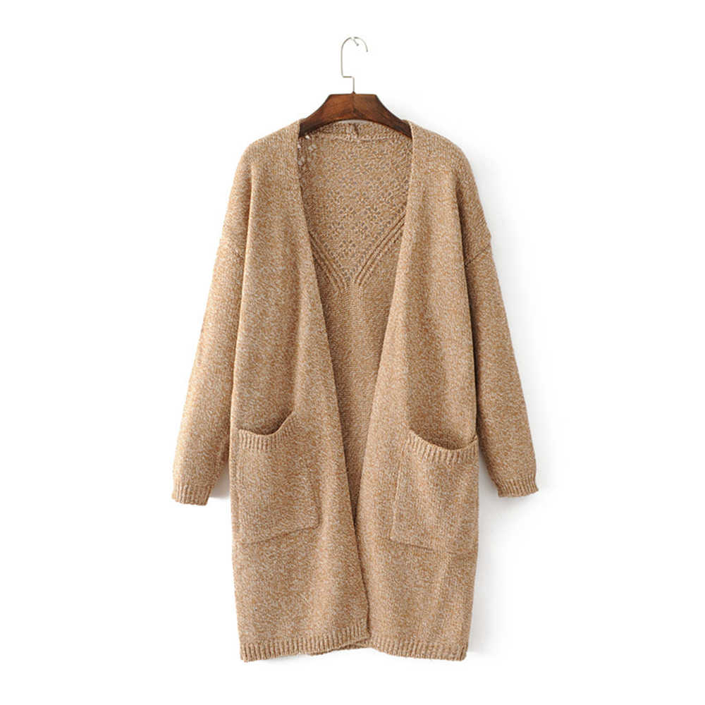 Women knitted long sleeve long sweater cardigan for female women hollow out overcoat outwear coats women autumn new