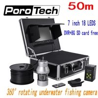 F08 50 7 Monitor 360 Degree Rotate Fishing Camera Fish Finder System 18pcs LED Lights DVR