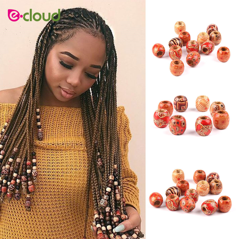 30pcs/bag  17mm Wood Hair Beads 8mm Big Hole Dreadlock Beads For Jumbo Braid Dreadlock  Hair Accessories